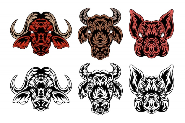 Faccia animale bufalo, mucca, maiale in stile retrò vintage.
