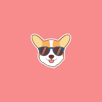 Faccia di cane carino corgi con adesivo del fumetto occhiali da sole