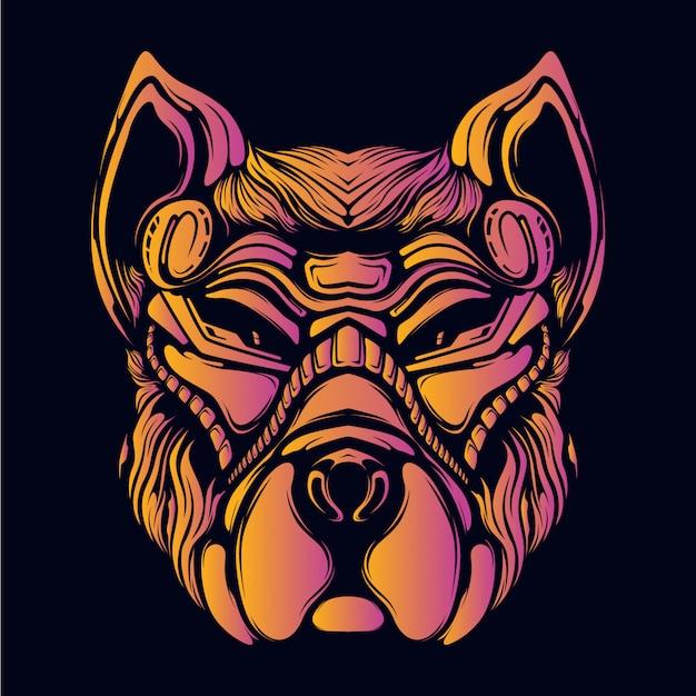 Faccia di cane con illustrazione di opere d'arte di colore al neon retrò faccia decorativa