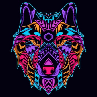 Faccia di lupo in colore neon