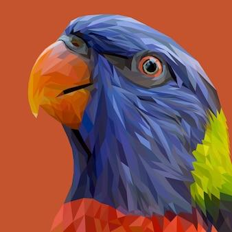 Faccia di pappagallo con design geometrico