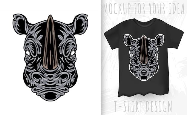 Faccia di rinoceronte vintage. intestazione stile vintage isolato su uno sfondo bianco.