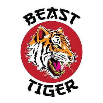 Faccia di tigre arrabbiata con tigre bestia testo