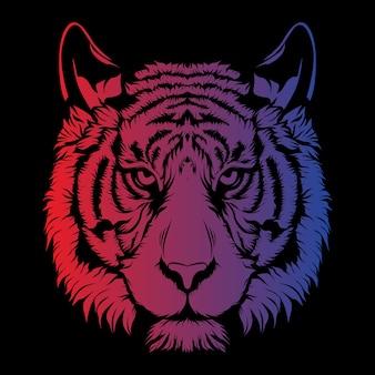 Faccia di tigre con ombreggiatura