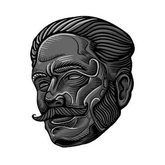 Faccia di uomini barbuti