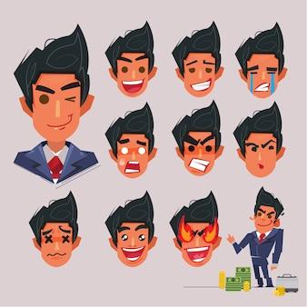 Faccia emotiva di uomo d'affari. design del personaggio