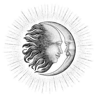 Faccia in sole e luna disegno a mano incisione stile vintage linea di dettaglio dei soldi per il tatuaggio