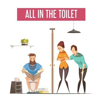 Faccia la coda al concetto di progetto della toilette con la gente che aspetta al gabinetto anteriore e l'uomo che legge il giornale sul lavabo