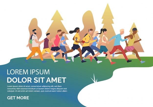 Faccia scorrere la pagina con la gente che corre l'illustrazione maratona