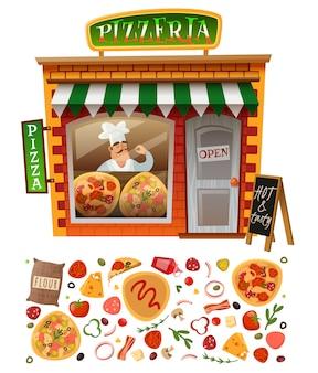 Facciata del negozio di pizzeria