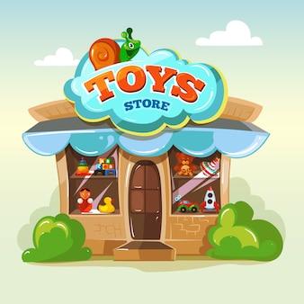Facciata dell'illustrazione del negozio di giocattoli