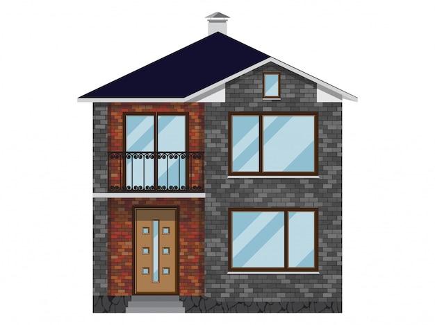 Facciata della casa con mattoni a vista con balcone.