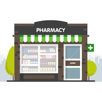 Facciata della farmacia nell'illustrazione dello spazio urbano