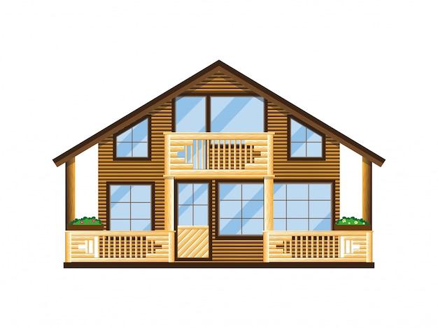 Facciata di casa in legno con balcone e veranda.