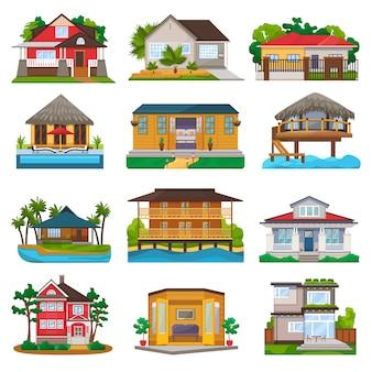 Facciata di vettore della villa della costruzione di casa e dell'hotel di località di soggiorno tropicale sulla spiaggia dell'oceano nell'insieme dell'illustrazione di paradiso del bungalow in villaggio isolato su bianco