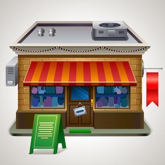 Facciata esterna anteriore del negozio di mercato o del negozio, illustrazione