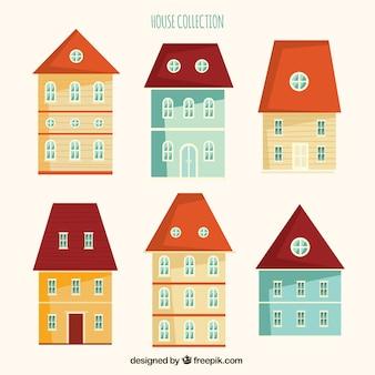 Facciate delle case svegli in design piatto