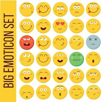 Faccina emoticon. collezione di emozioni diverse