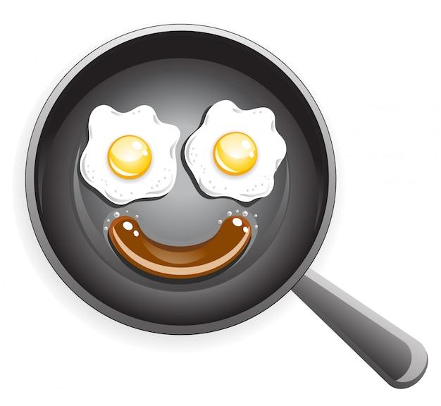 Faccina sorridente da uovo fritto e salsiccia