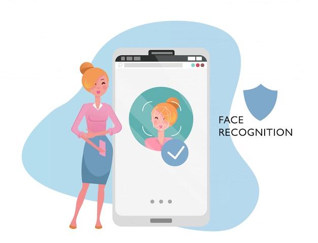 Face id concept. donna con cellulare, volto femminile sul grande schermo dello smartphone. riconoscimento della personalità in app mobile, cellulare moderno con sistema di sicurezza. illustrazione di vettore del fumetto piatto