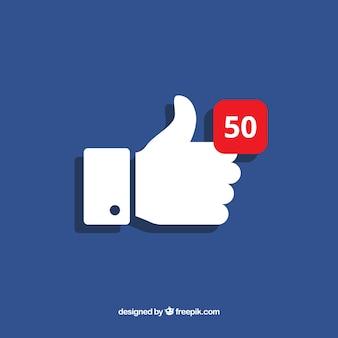 Facebook pollice su sfondo con notifica