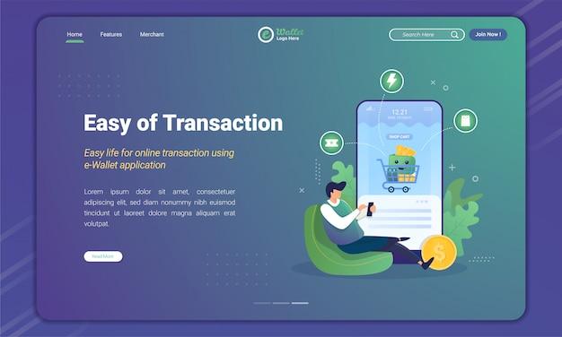 Facile transazione utilizzando l'e-wallet per il pagamento dello shopping sul modello della pagina di destinazione