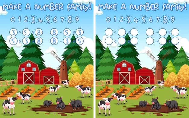Fai un numero di matematica in fattoria
