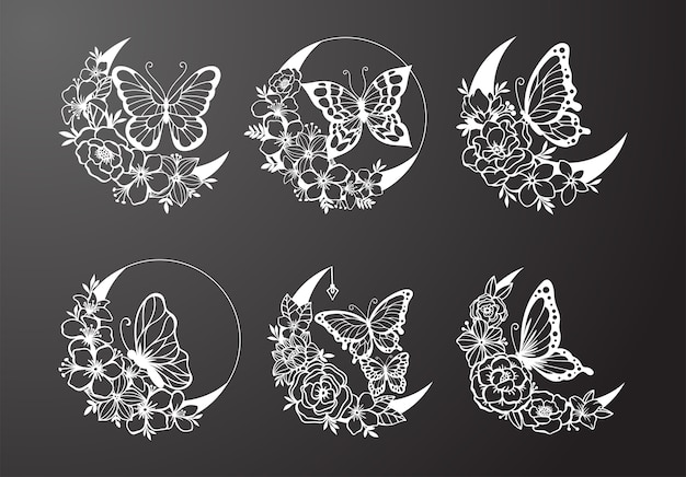 Falce di luna con farfalla e decorazioni in stile floreale