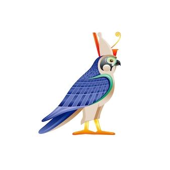 Falco egizio horus & ra dio simbolo. carattere dell'uccello del falco nell'ala della corona del faraone dall'arte dell'antico egitto. icona realistica della statua del fumetto 3d.