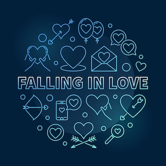Falling in love vector round blue outline illustration