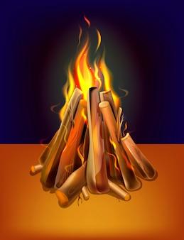 Falò bruciante realistico con legno