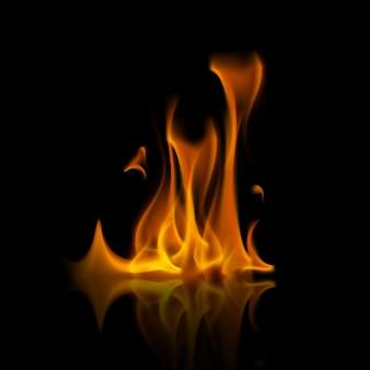 Falò della fiamma del fuoco arancione giallo di vettore