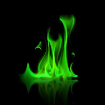 Falò della fiamma del fuoco magico verde di vettore