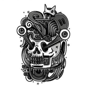 False king illustrazione in bianco e nero
