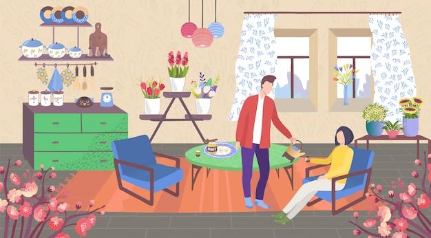 Famiglia a casa, personaggi dei cartoni animati delle coppie nella stanza della cucina dell'appartamento accogliente con piante d'appartamento nel fondo dei vasi