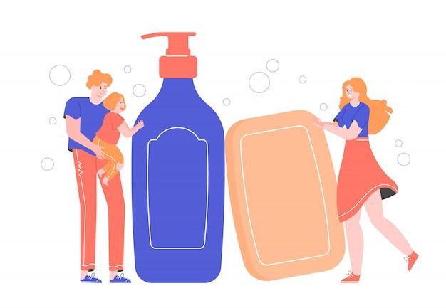 Famiglia accanto a sapone e distributore. mamma, papà e figlia si lavano le mani, si prendono cura della pelle e dell'igiene. personaggi piatti.