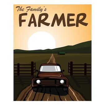 Famiglia agricoltore sullo sfondo