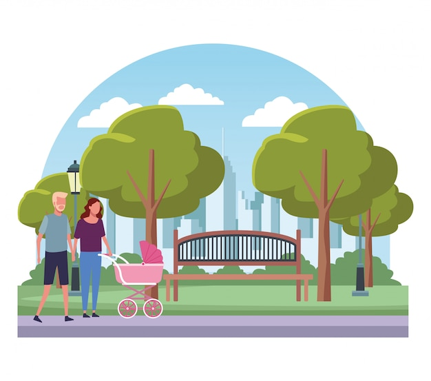 Famiglia ai cartoni del parco