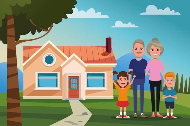 Famiglia all'aperto da casa dei cartoni animati