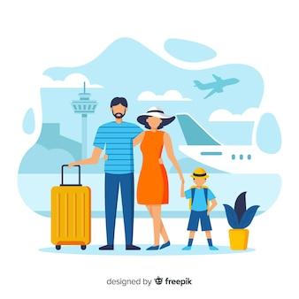 Famiglia andando su uno sfondo di viaggio
