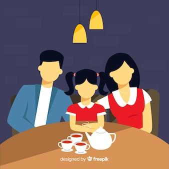 Famiglia anonima disegnata a mano che mangia insieme tè