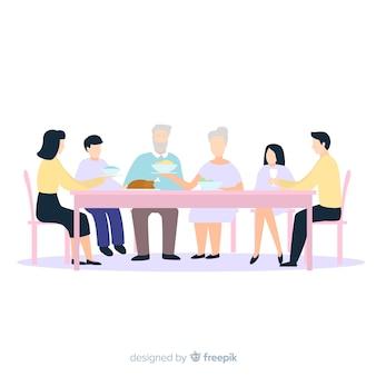 Famiglia anonima disegnata a mano che mangia insieme