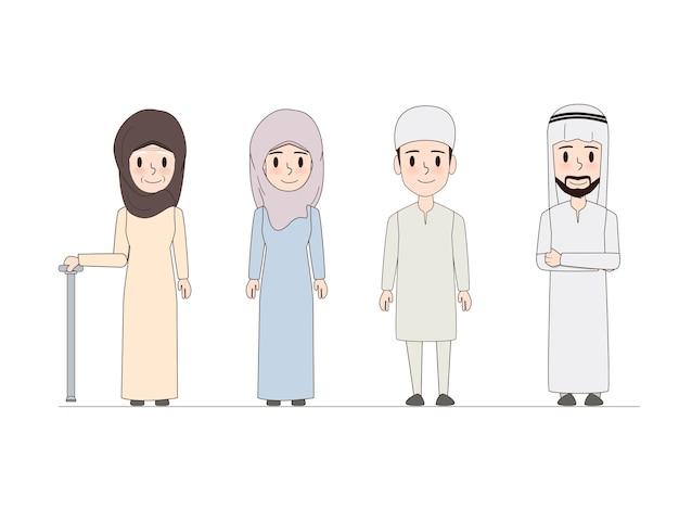 Famiglia araba e disegno di doodle di persone musulmane.