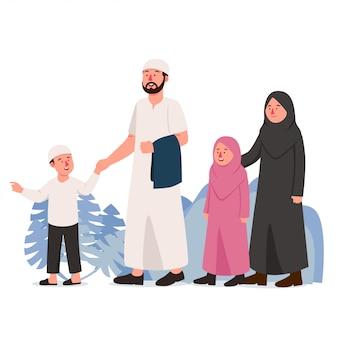 Famiglia araba musulmana a piedi insieme