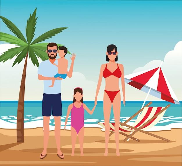 Famiglia avatar e bambini piccoli in spiaggia, design colorato