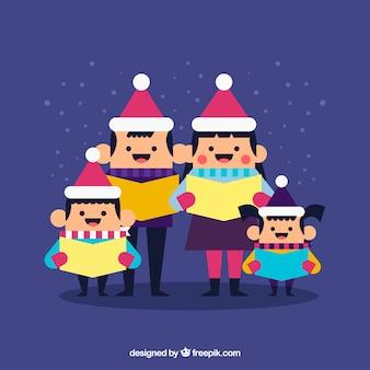 Famiglia cantando natale carol