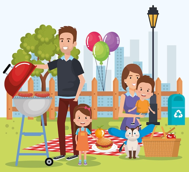 Famiglia carina felice nei personaggi del giorno picnic