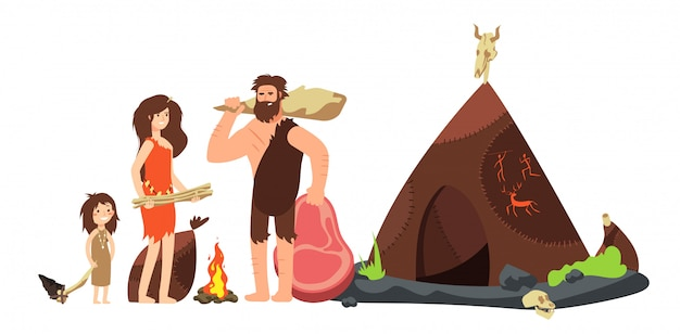 Famiglia cavernicolo dei cartoni animati. cacciatori e bambini di neanderthal preistorici. illustrazione antica di homo sapiens