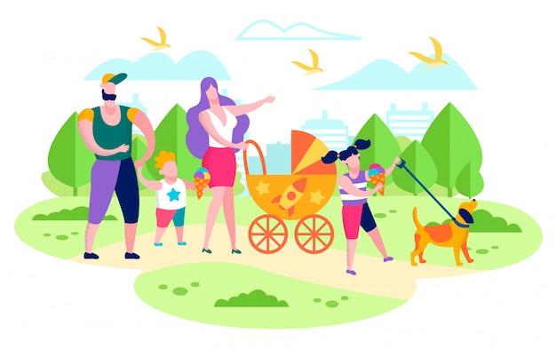 Famiglia che cammina con i bambini nel vettore piano del parco della città