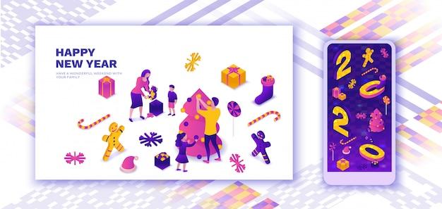 Famiglia che celebra la pagina di atterraggio del nuovo anno, illustrazione isometrica 3d
